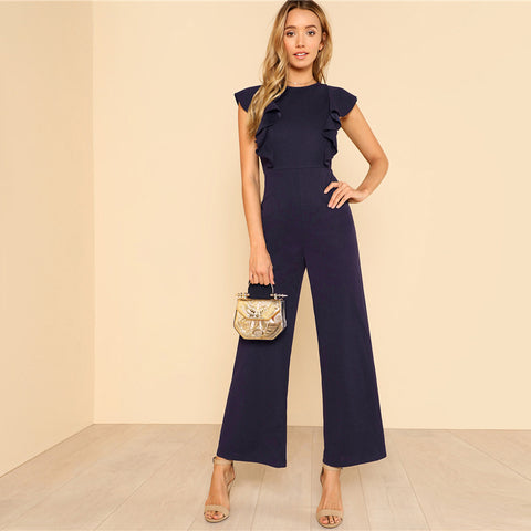 Navy Ruffle Trim Wide Leg Jumpsuit