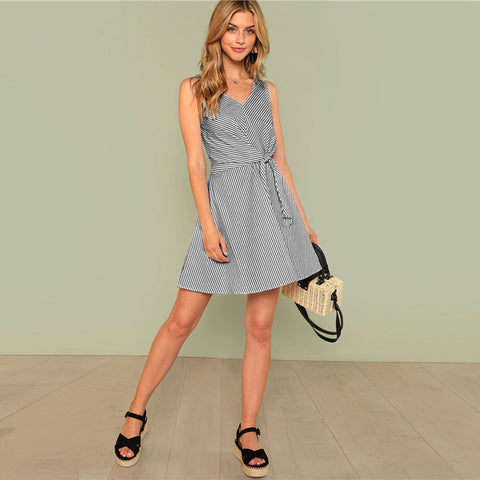 Short Side Knot Stripe Dress