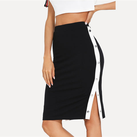 Black Button Side Pencil Skirt