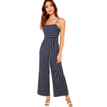 Navy Striped Wide Leg Jumpsuit