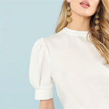 White Puffed Sleeve Blouse