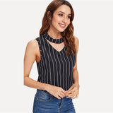 Striped Black & White Choker Top