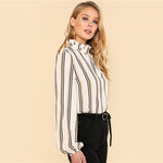 White Striped High Neck Blouse