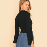 Bishop Sleeve Slim Fit Crop
