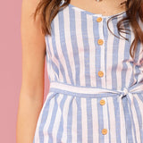 Striped Button Up Cami Dress