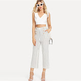 Black & White Striped Wide Leg Trousers