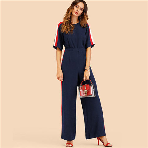 Navy High Waisted Jumpsuit