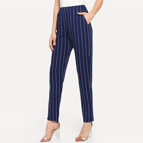 Navy Striped Cigarette Trousers
