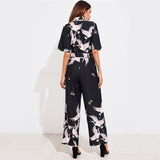 Pink Bird Wide Leg Jumpsuit