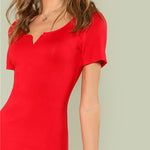 Red Short Sleeve Midi Dress