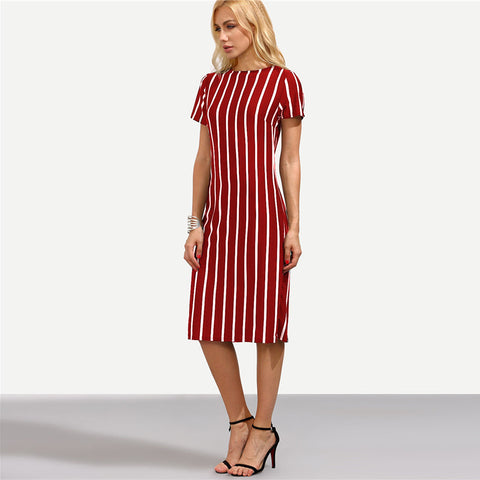 Red Striped Midi Dress