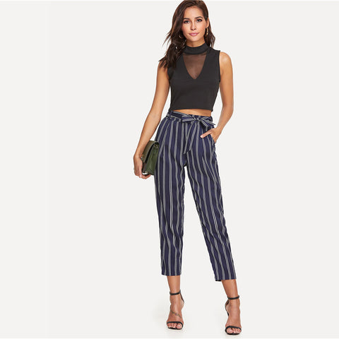 High Waist Navy Stripe Trouser