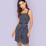 Striped Bow Pinafore Dress