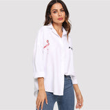 White Embroidered Flamingo Shirt