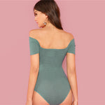 Green Wrap Front Bodysuit