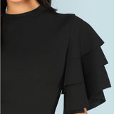 Ruffle Sleeve Black Dress