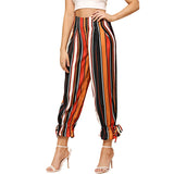 Drawstring Hem Stripe Trousers