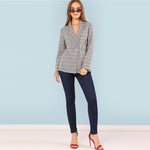 Plaid Grey Belted Blazer
