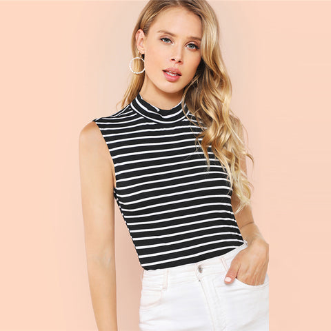 Striped Sleeveless High Neck Top