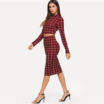 Burgundy Grid Long Sleeve Two Piece