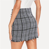Plaid Frayed Trim Tweed Mini Skirt