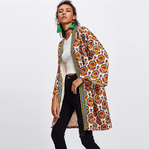 Ornate Print Embroidered Cloak