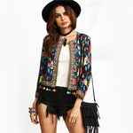Black Retro Print Tassel Trimmed Jacket