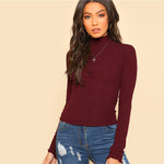 Burgundy Long Sleeve Slim Fit Sweater
