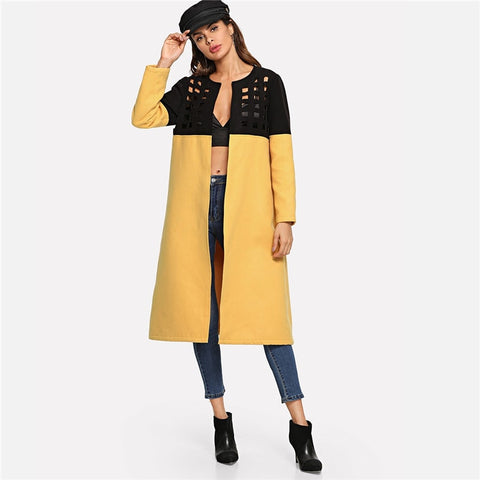Mustard Cut Out Trench Coat