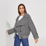 Grey Double Breasted Herringbone Jacket