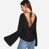 Lace Trimmed Backless Bell Sleeve Blouse