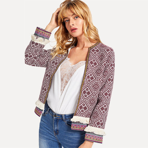 Burgundy Tribal Embroidered Jacket