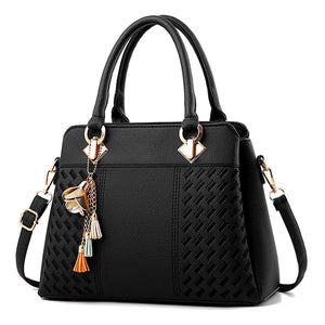 Women's Fashion Black Top Handle Satchel Shoulder Handbag - ElegantBags.Shop
