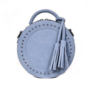 Women's Fashion Leather Fashion Round Handbag With Tassels - ElegantBags.Shop