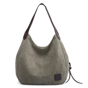 Women's Casual Fashion Canvas Handbag Tote With Zipper - ElegantBags.Shop