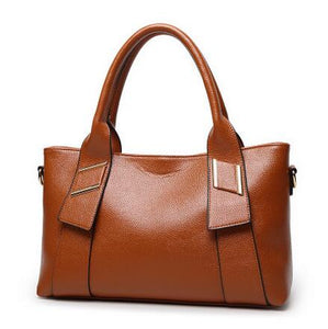 Women's Fashion Versatile Leather Handbag With Zipper - ElegantBags.Shop