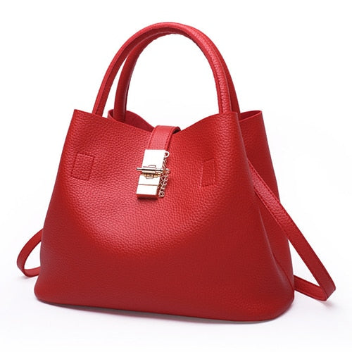 European Radiance Bucket Tote Women's Soft PU Leather Handbag - ElegantBags.Shop