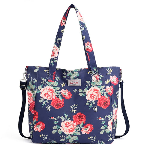 Women's Fashion Large Nylon Shoulder Handbag Tote With Removable Strap - ElegantBags.Shop