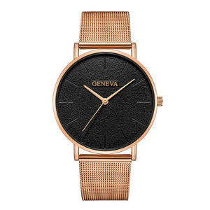 Women's Ultra-thin Rose Gold Mesh Stainless Steel Watch - ElegantBags.Shop