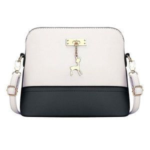 Women's Small Leather Fashion Shell Style Handbag With Ornament - ElegantBags.Shop