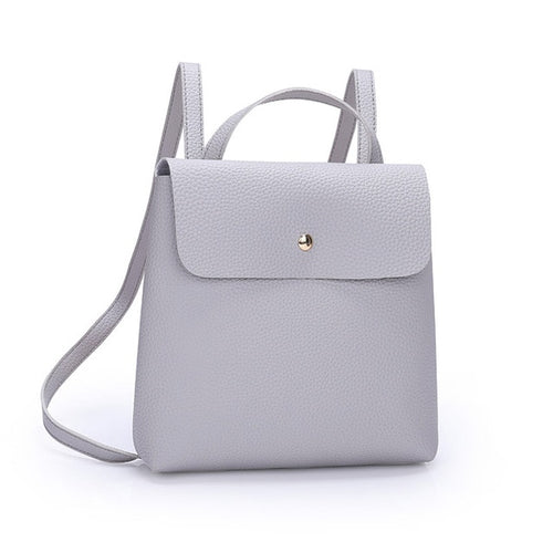 Women's Petite Fashion Leather Rucksack Backpack Handbag - ElegantBags.Shop