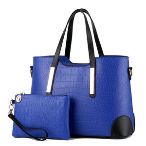 Women's Fashion Top-handle Large Capacity Leather Shoulder Handbag 2Pc Set - ElegantBags.Shop