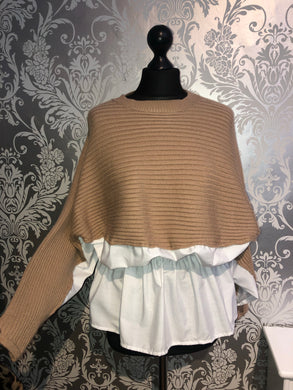 Tan jumper with shirt detail