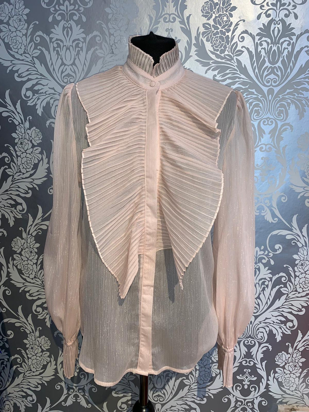 Blush pink frilly blouse