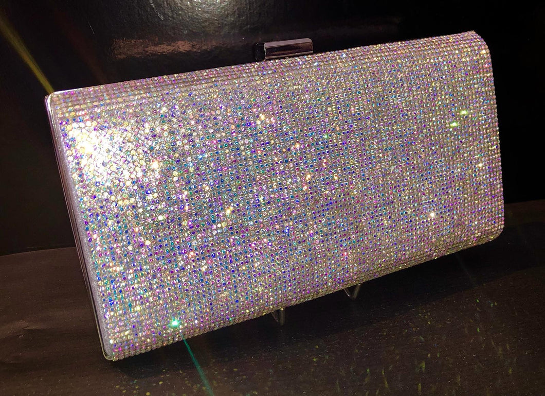 Multi coloured diamonte bag