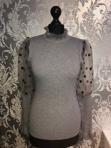 Ribbed spotted sleeve jumper- Grey