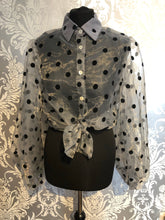 Load image into Gallery viewer, Grey sheer blouse with black polka dot