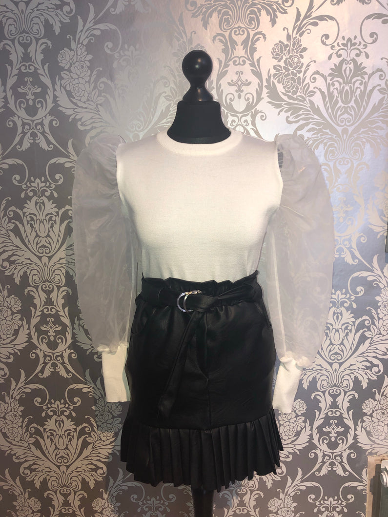 Black leather look pleated skirt