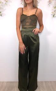 Rosalyn Khaki silky wide leg trousers