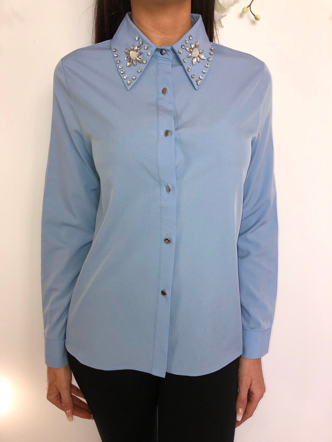 Jojo diamonte collar blouse- Powder blue